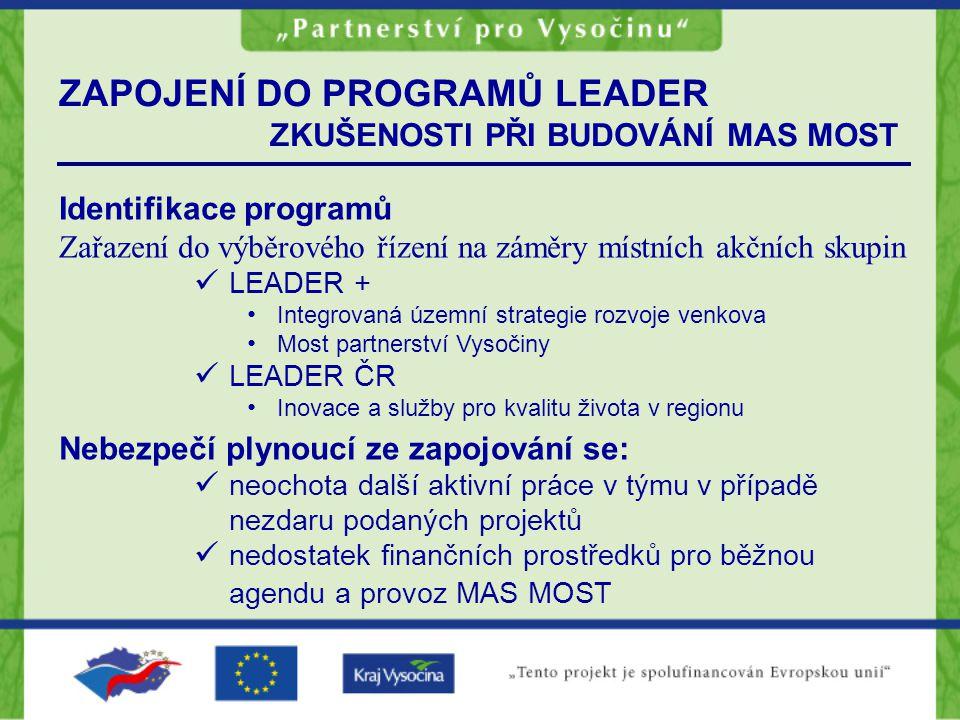 ZAPOJENÍ DO PROGRAMŮ LEADER ZKUŠENOSTI PŘI BUDOVÁNÍ MAS MOST Identifikace programů Zařazení do výběrového řízení na záměry místních akčních skupin LEA