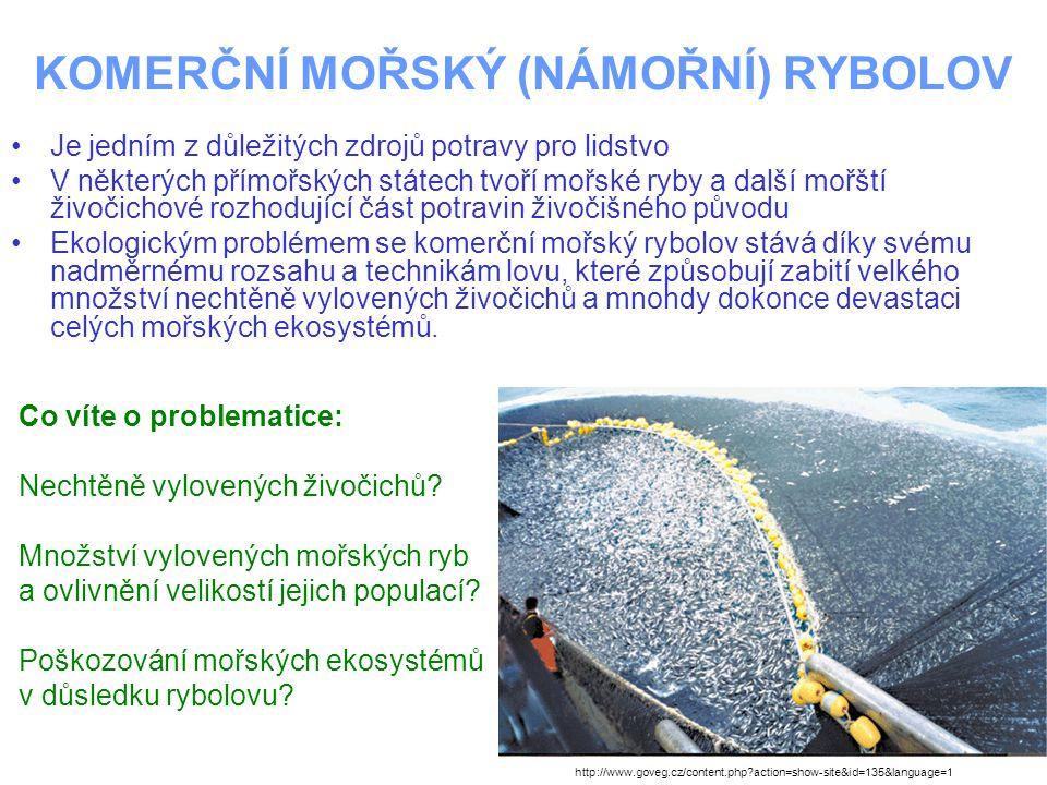 KOMERČNÍ MOŘSKÝ (NÁMOŘNÍ) RYBOLOV Technicky jsou používány různé druhy sítí a lovných šňůr Sítě jsou buď vlečného typu (vlečeny za loděmi) nebo se umísťují ve vodním sloupci a ryby se do nich chytají vlastním aktivním pohybem (díky vhodnému materiálu a velikosti ok ryby síť nevidí) Podobně lovně šňůry jsou vlečeny za lodí nebo umístěny ve vodním sloupci Na šňůrách bývá velké množství háčků s návnadou http://www.goveg.cz/content.php?action=show-site&id=135&language=1