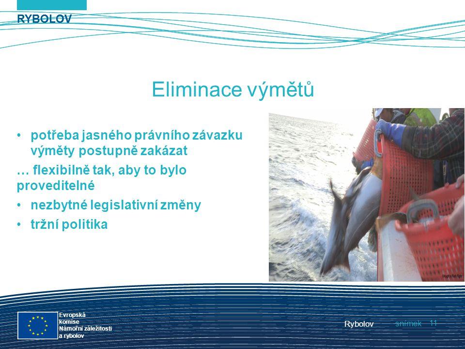 RYBOLOV snímek Evropská komise Námořní záležitosti a rybolov Rybolov 11 RYBOLOV Eliminace výmětů potřeba jasného právního závazku výměty postupně zaká