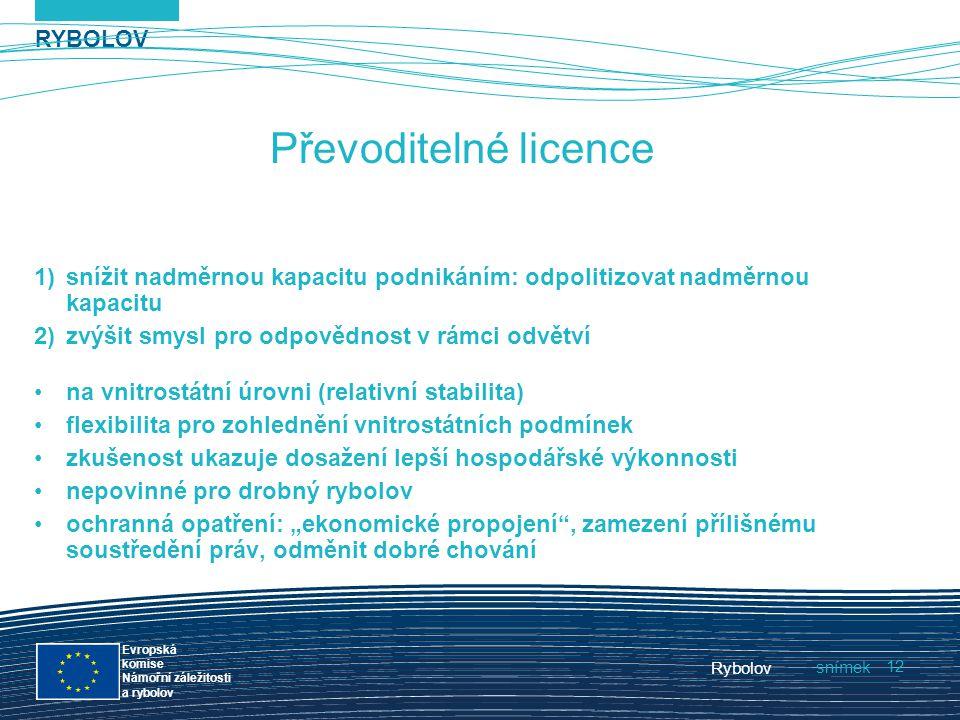 RYBOLOV snímek Evropská komise Námořní záležitosti a rybolov Rybolov 12 Převoditelné licence 1)snížit nadměrnou kapacitu podnikáním: odpolitizovat nad