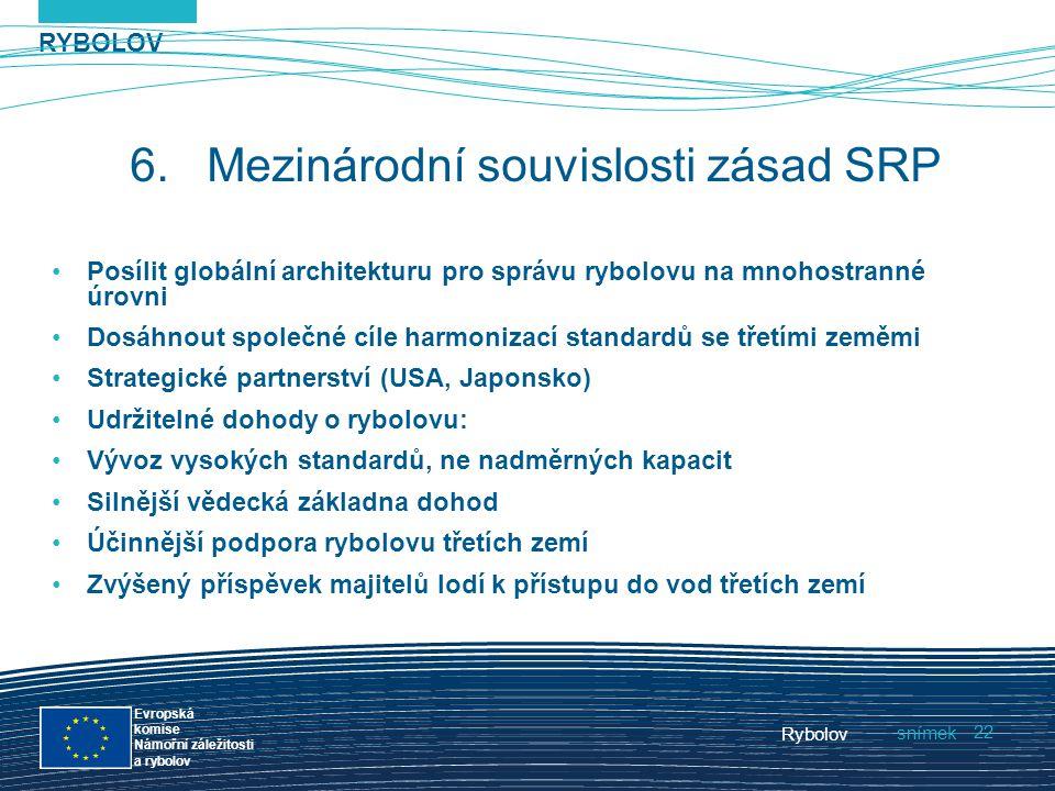RYBOLOV snímek Evropská komise Námořní záležitosti a rybolov Rybolov 22 6.Mezinárodní souvislosti zásad SRP Posílit globální architekturu pro správu r
