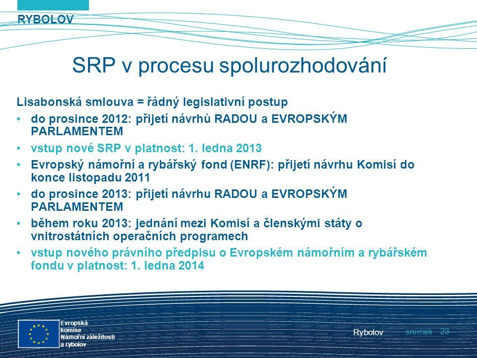 RYBOLOV snímek Evropská komise Námořní záležitosti a rybolov Rybolov 23 SRP v procesu spolurozhodování Lisabonská smlouva = řádný legislativní postup