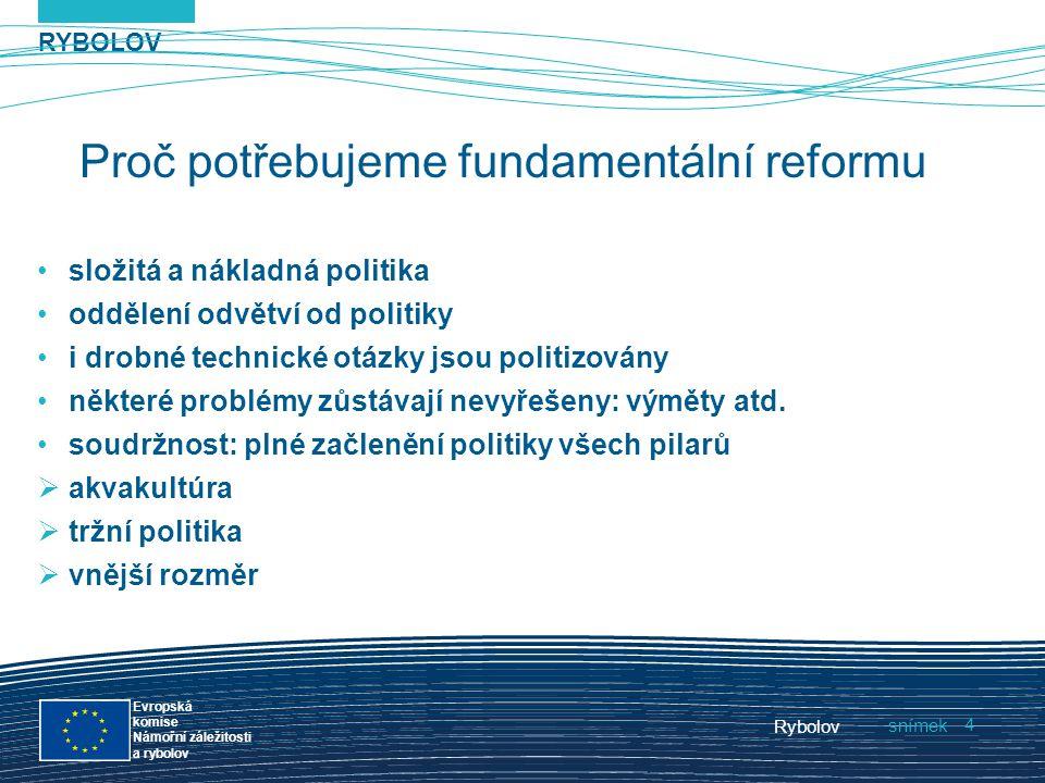 RYBOLOV snímek Evropská komise Námořní záležitosti a rybolov Rybolov 4 Proč potřebujeme fundamentální reformu složitá a nákladná politika oddělení odv