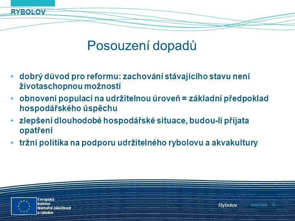 RYBOLOV snímek Evropská komise Námořní záležitosti a rybolov Rybolov 5 Posouzení dopadů dobrý důvod pro reformu: zachování stávajícího stavu není živo