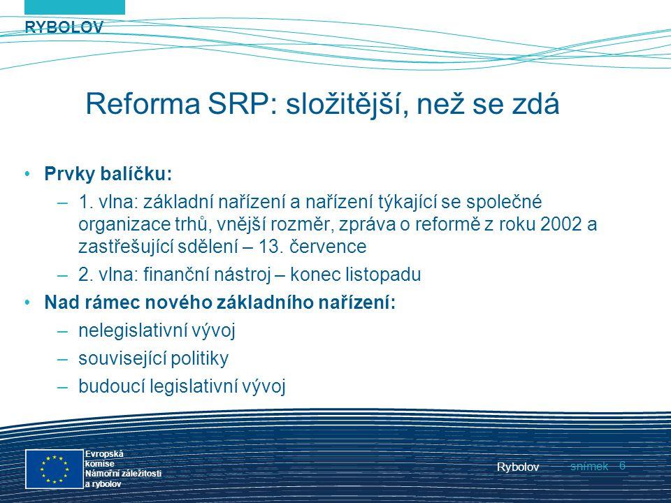 RYBOLOV snímek Evropská komise Námořní záležitosti a rybolov Rybolov 6 Reforma SRP: složitější, než se zdá Prvky balíčku: –1. vlna: základní nařízení
