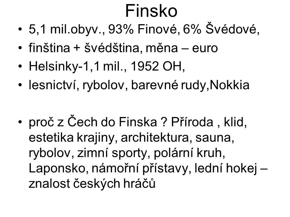 Finsko 5,1 mil.obyv., 93% Finové, 6% Švédové, finština + švédština, měna – euro Helsinky-1,1 mil., 1952 OH, lesnictví, rybolov, barevné rudy,Nokkia pr