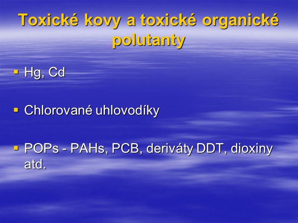 Toxické kovy a toxické organické polutanty  Hg, Cd  Chlorované uhlovodíky  POPs - PAHs, PCB, deriváty DDT, dioxiny atd.