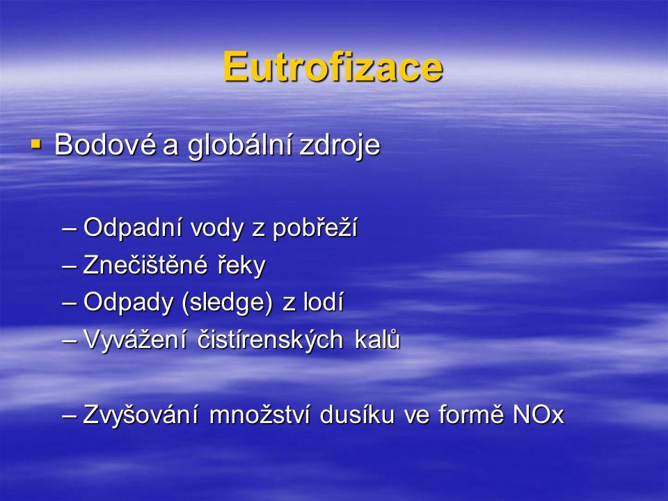 Eutrofizace  Bodové a globální zdroje –Odpadní vody z pobřeží –Znečištěné řeky –Odpady (sledge) z lodí –Vyvážení čistírenských kalů –Zvyšování množství dusíku ve formě NOx