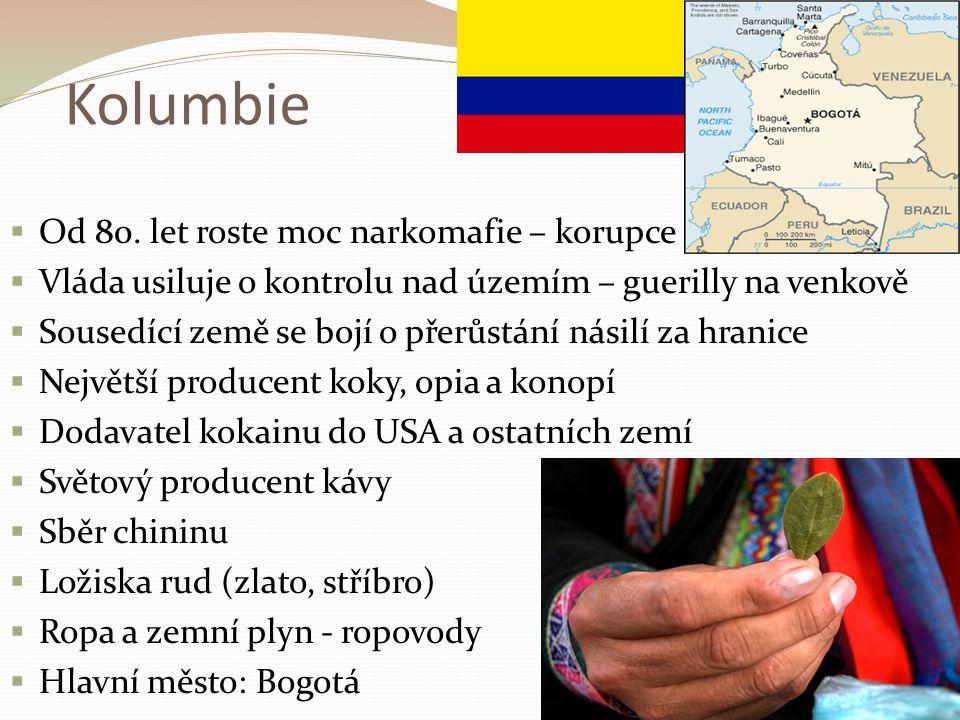 Kolumbie  Od 80. let roste moc narkomafie – korupce  Vláda usiluje o kontrolu nad územím – guerilly na venkově  Sousedící země se bojí o přerůstání
