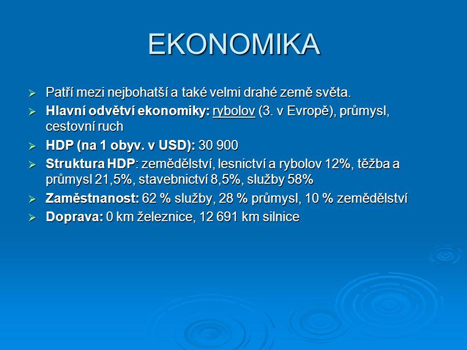 EKONOMIKA  Patří mezi nejbohatší a také velmi drahé země světa.  Hlavní odvětví ekonomiky: rybolov (3. v Evropě), průmysl, cestovní ruch  HDP (na 1