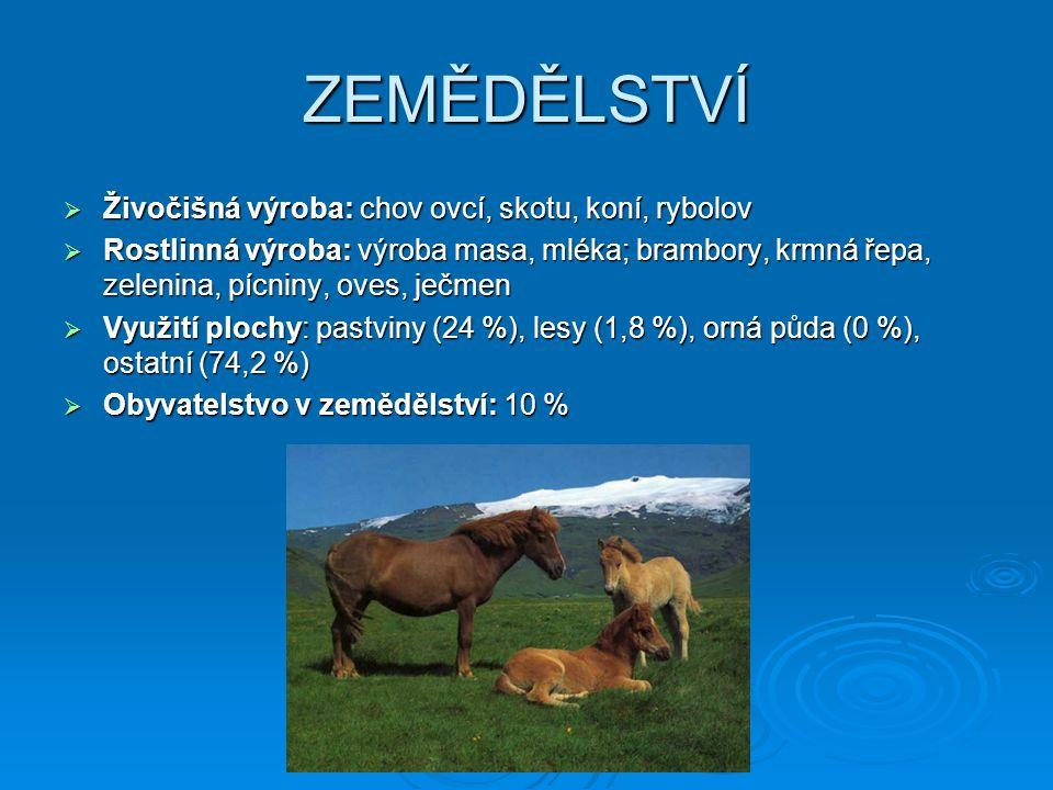 ZEMĚDĚLSTVÍ  Živočišná výroba: chov ovcí, skotu, koní, rybolov  Rostlinná výroba: výroba masa, mléka; brambory, krmná řepa, zelenina, pícniny, oves,