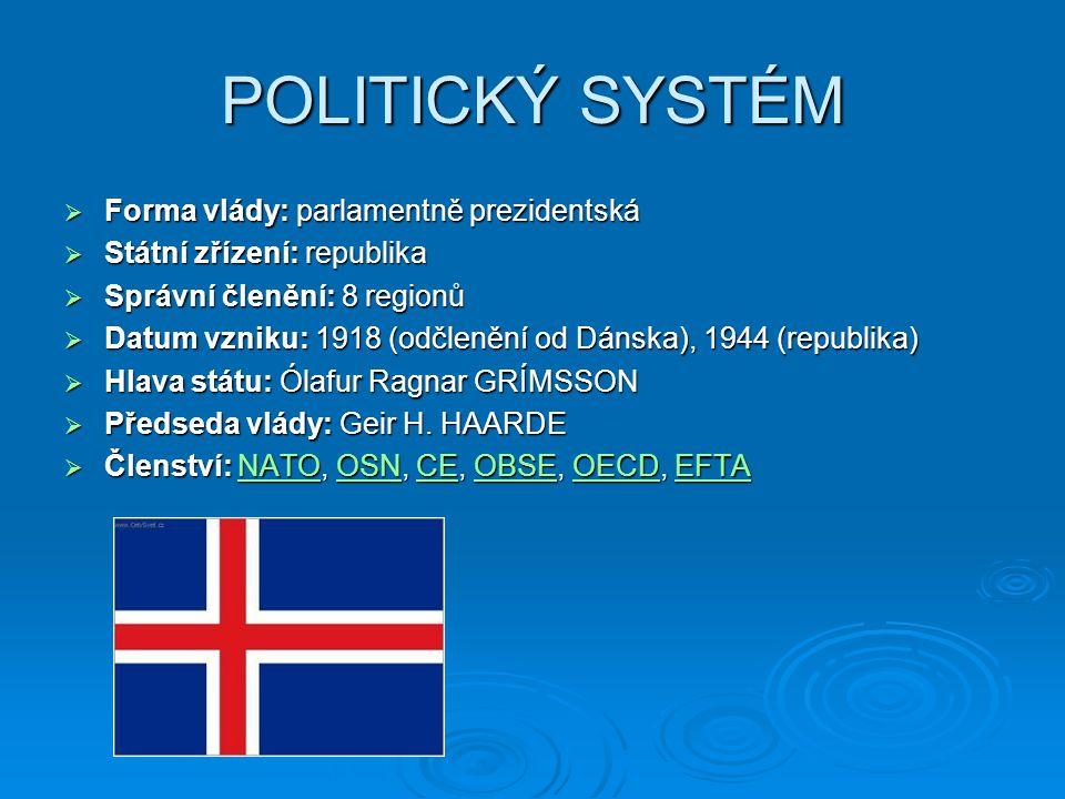 OBYVATELSTVO  Počet obyvatel: 312 000  Hustota zalidnění: 3,03/ km²  Islanďané 96%, Skandinávci 1,5%, Američané 0,5%, ostatní 2%  Náboženství: protestanti 96%, římští katolíci 1%, bez vyznání 1,4%, ostatní 1,4%  Průměrný věk dožití obyvatel: 80,31 let (2006)  Gramotnost: 99,9 %  Roční přirozený přírůstek: 0,94 %  Střední délka života: 77,3 let (muži – 2.
