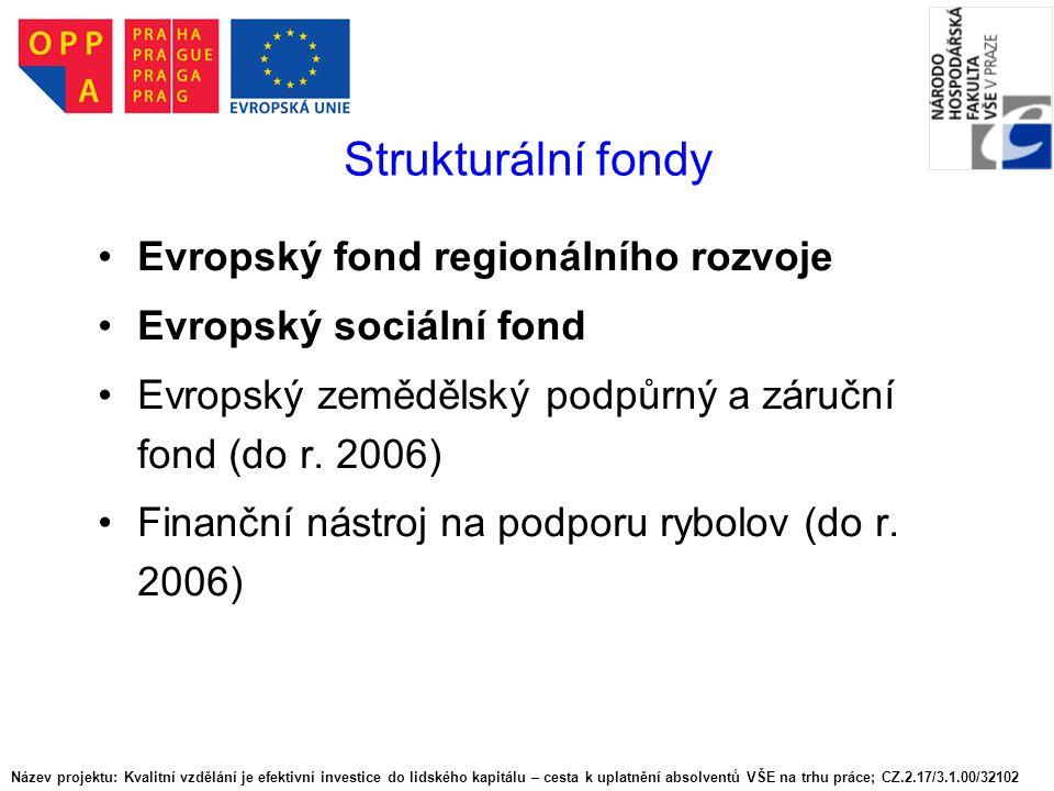 Fond soudržnosti (Cohesion Fund – CF) Založen 1993.