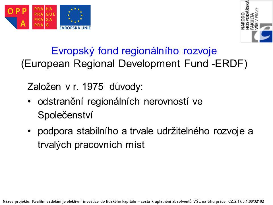 ERDF - oblasti podpory produktivní investice k vytvoření nebo zachování stálých pracovních míst infrastruktura  transevropské sítě (TEN)  regionální infrastruktura endogenní potenciál  místní rozvoj  malé a střední podnikání technická pomoc v období 2000-2006 v oblastech zařazených do Cíle 1 také vzdělání a zdraví obyvatelstva Název projektu: Kvalitní vzdělání je efektivní investice do lidského kapitálu – cesta k uplatnění absolventů VŠE na trhu práce; CZ.2.17/3.1.00/32102