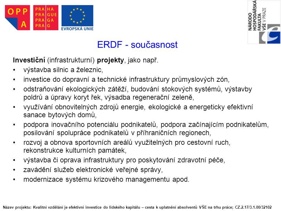 Evropský sociální fond (European Social Fund - ESF) Původní poslání - podpora mobility pracovních sil, podpora zaměstnanosti, rozvoj lidských zdrojů Oblasti činnosti: podpora víceletých Národních akčních plánů aktivní politika na trhu práce na podporu integrace soc.