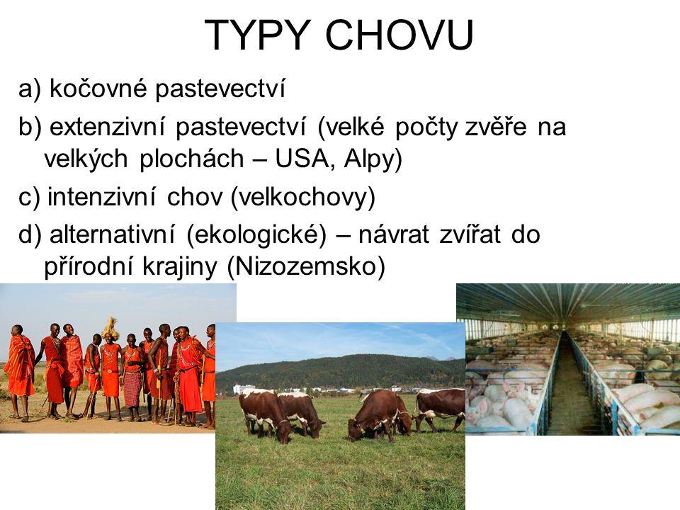 TYPY CHOVU a) kočovné pastevectví b) extenzivní pastevectví (velké počty zvěře na velkých plochách – USA, Alpy) c) intenzivní chov (velkochovy) d) alt