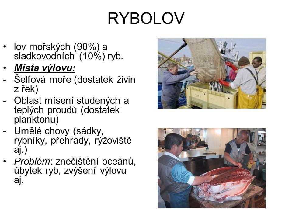 RYBOLOV lov mořských (90%) a sladkovodních (10%) ryb. Místa výlovu: -Šelfová moře (dostatek živin z řek) -Oblast mísení studených a teplých proudů (do