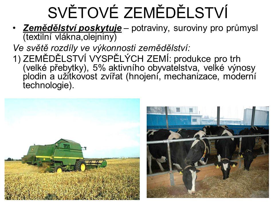 SVĚTOVÉ ZEMĚDĚLSTVÍ Zemědělství poskytuje – potraviny, suroviny pro průmysl (textilní vlákna,olejniny) Ve světě rozdíly ve výkonnosti zemědělství: 1)