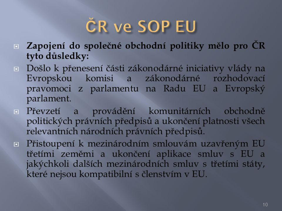  Zapojení do společné obchodní politiky mělo pro ČR tyto důsledky:  Došlo k přenesení části zákonodárné iniciativy vlády na Evropskou komisi a zákon