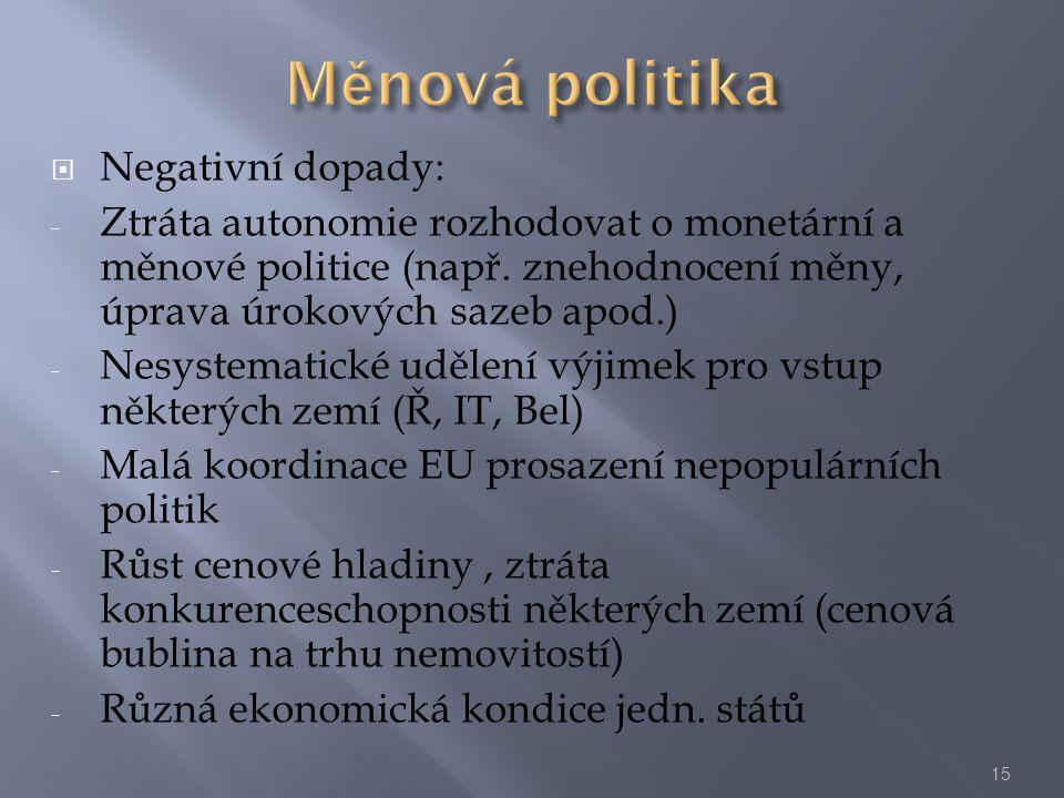  Negativní dopady: - Ztráta autonomie rozhodovat o monetární a měnové politice (např. znehodnocení měny, úprava úrokových sazeb apod.) - Nesystematic