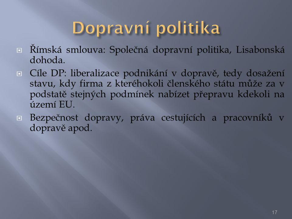  Římská smlouva: Společná dopravní politika, Lisabonská dohoda.  Cíle DP: liberalizace podnikání v dopravě, tedy dosažení stavu, kdy firma z kterého