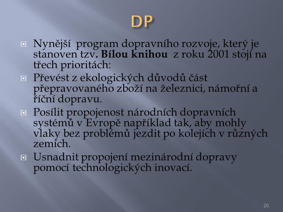  Nynější program dopravního rozvoje, který je stanoven tzv. Bílou knihou z roku 2001 stojí na třech prioritách:  Převést z ekologických důvodů část