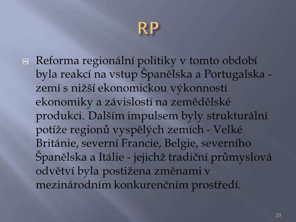  Reforma regionální politiky v tomto období byla reakcí na vstup Španělska a Portugalska - zemí s nižší ekonomickou výkonností ekonomiky a závislostí