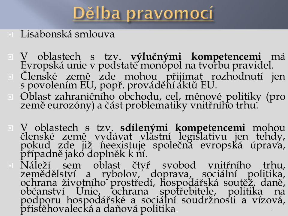  Lisabonská smlouva  V oblastech s tzv. výlučnými kompetencemi má Evropská unie v podstatě monopol na tvorbu pravidel.  Členské země zde mohou přij