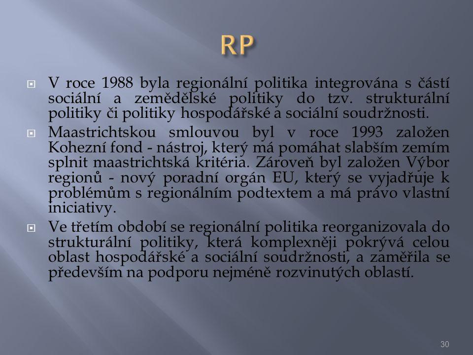 V roce 1988 byla regionální politika integrována s částí sociální a zemědělské politiky do tzv. strukturální politiky či politiky hospodářské a soci