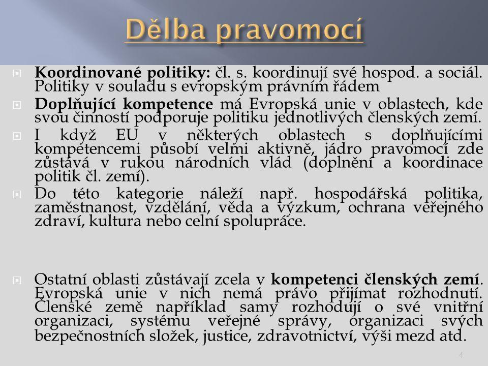  Koordinované politiky: čl. s. koordinují své hospod. a sociál. Politiky v souladu s evropským právním řádem  Doplňující kompetence má Evropská unie