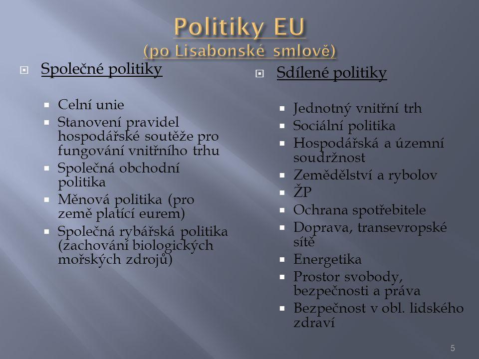  Společné politiky  Celní unie  Stanovení pravidel hospodářské soutěže pro fungování vnitřního trhu  Společná obchodní politika  Měnová politika