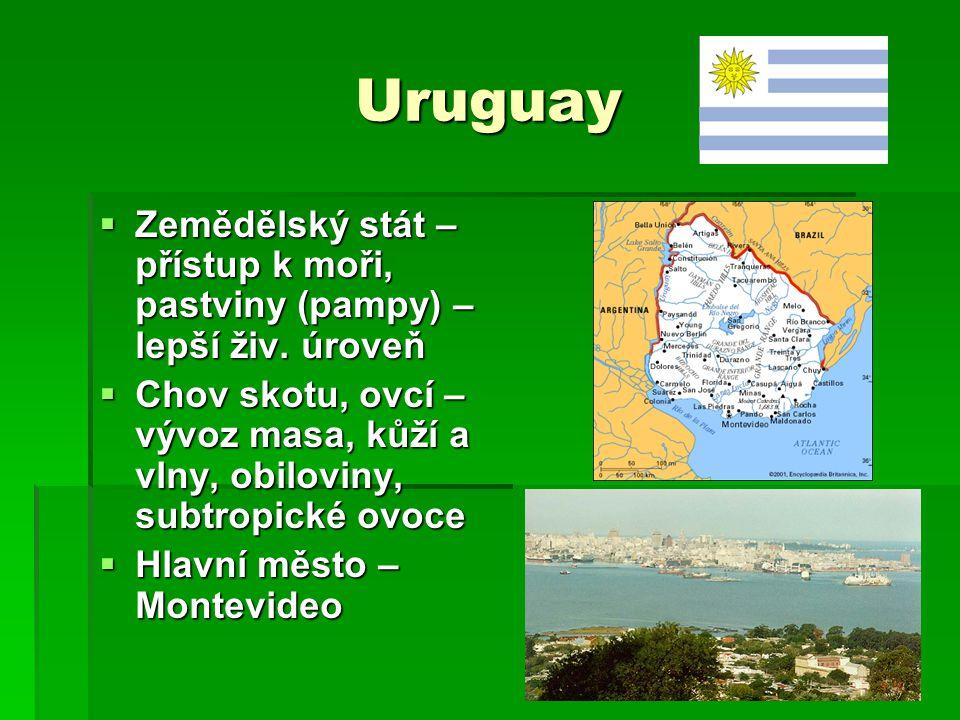 Uruguay  Zemědělský stát – přístup k moři, pastviny (pampy) – lepší živ. úroveň  Chov skotu, ovcí – vývoz masa, kůží a vlny, obiloviny, subtropické