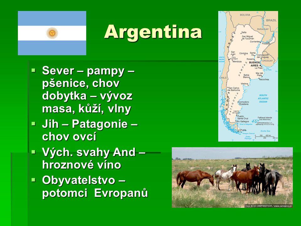 Argentina  Sever – pampy – pšenice, chov dobytka – vývoz masa, kůží, vlny  Jih – Patagonie – chov ovcí  Vých. svahy And – hroznové víno  Obyvatels