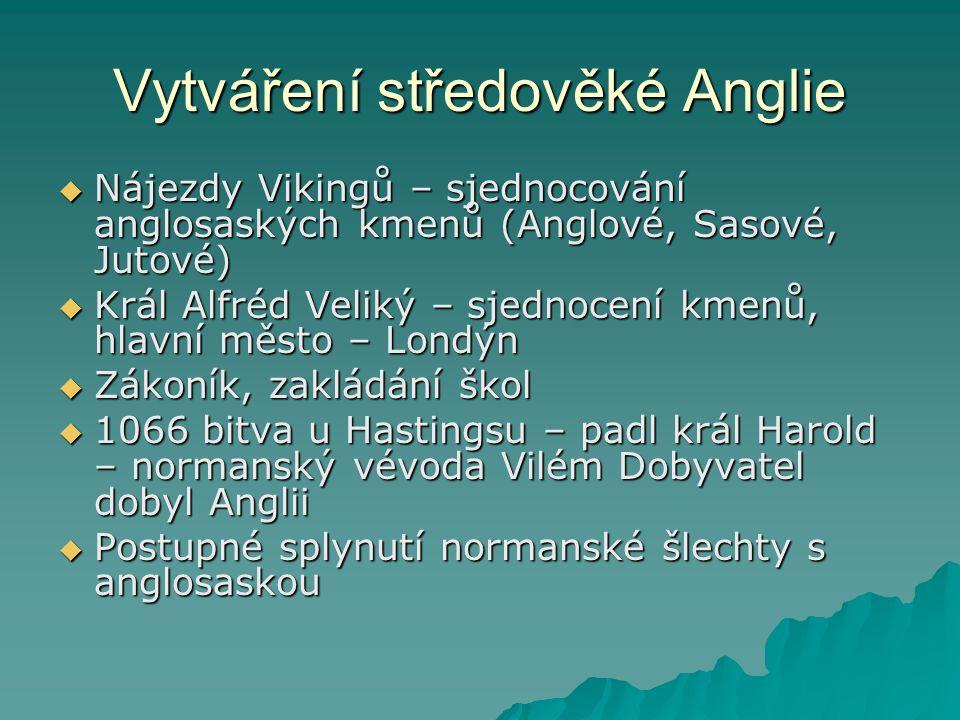 Vytváření středověké Anglie  Nájezdy Vikingů – sjednocování anglosaských kmenů (Anglové, Sasové, Jutové)  Král Alfréd Veliký – sjednocení kmenů, hla