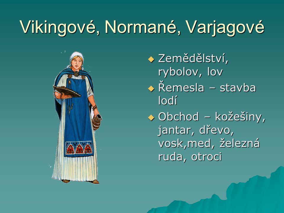 Vikingové, Normané, Varjagové  Zemědělství, rybolov, lov  Řemesla – stavba lodí  Obchod – kožešiny, jantar, dřevo, vosk,med, železná ruda, otroci