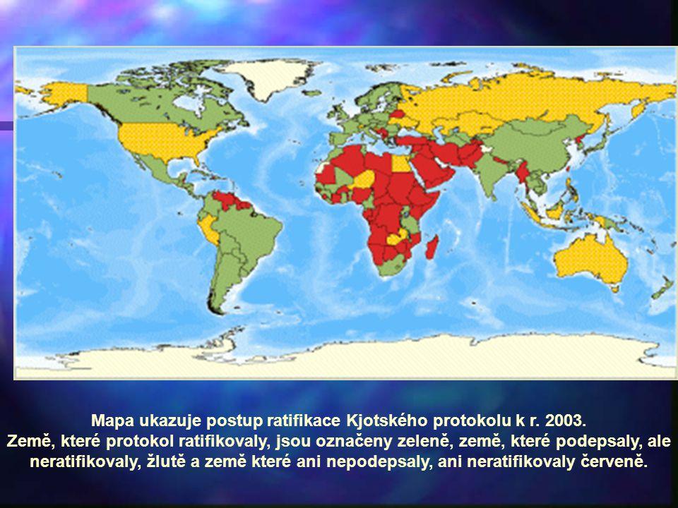Mapa ukazuje postup ratifikace Kjotského protokolu k r.
