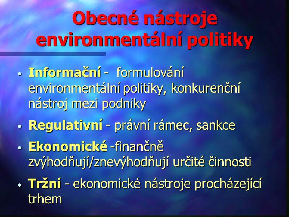 Obecné nástroje environmentální politiky Informační - formulování environmentální politiky, konkurenční nástroj mezi podniky Informační - formulování environmentální politiky, konkurenční nástroj mezi podniky Regulativní - právní rámec, sankce Regulativní - právní rámec, sankce Ekonomické -finančně zvýhodňují/znevýhodňují určité činnosti Ekonomické -finančně zvýhodňují/znevýhodňují určité činnosti Tržní - ekonomické nástroje procházející trhem Tržní - ekonomické nástroje procházející trhem