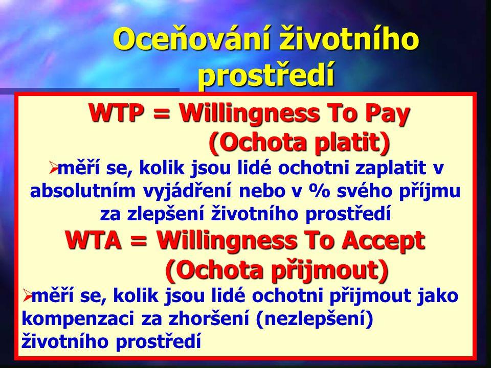 Oceňování životního prostředí WTP = Willingness To Pay WTP = Willingness To Pay (Ochota platit) (Ochota platit)  měří se, kolik jsou lidé ochotni zaplatit v absolutním vyjádření nebo v % svého příjmu za zlepšení životního prostředí WTA = Willingness To Accept (Ochota přijmout) (Ochota přijmout)  měří se, kolik jsou lidé ochotni přijmout jako kompenzaci za zhoršení (nezlepšení) životního prostředí