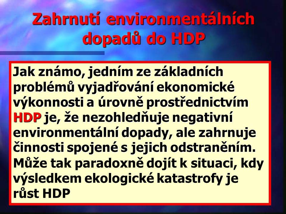 Zahrnutí environmentálních dopadů do HDP Jak známo, jedním ze základních problémů vyjadřování ekonomické výkonnosti a úrovně prostřednictvím HDP je, že nezohledňuje negativní environmentální dopady, ale zahrnuje činnosti spojené s jejich odstraněním.