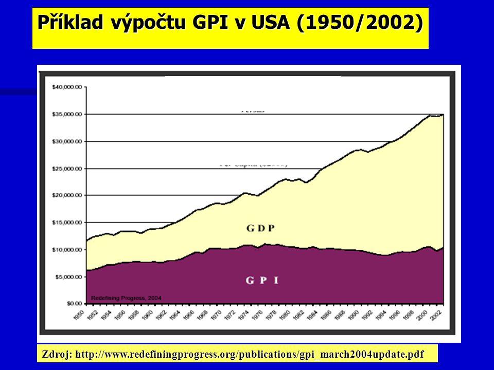 Příklad výpočtu GPI v USA (1950/2002) Zdroj: http://www.redefiningprogress.org/publications/gpi_march2004update.pdf
