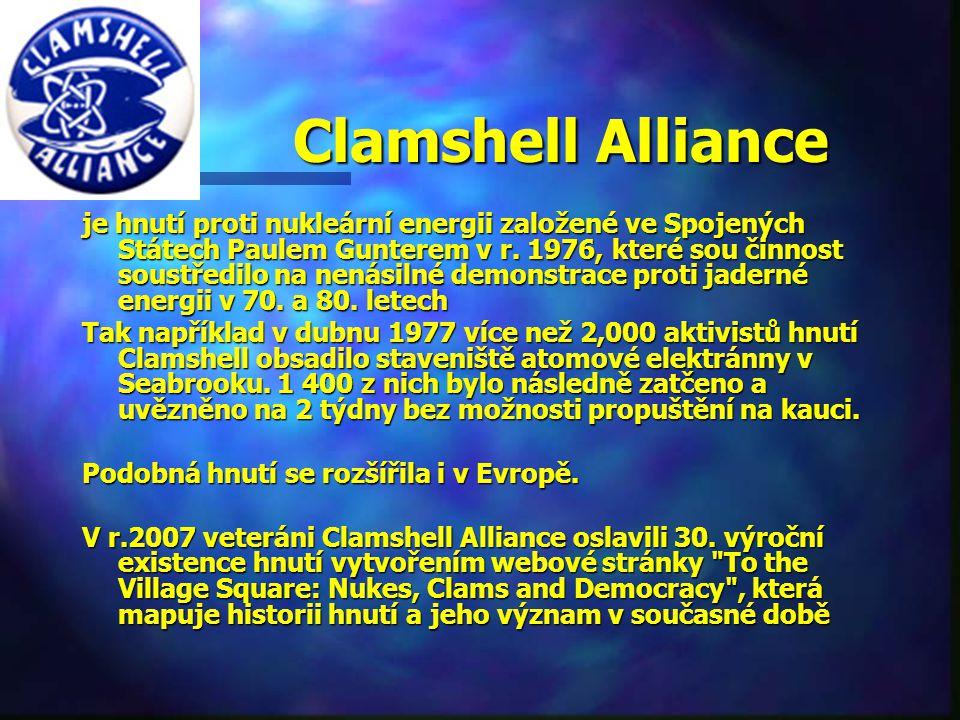 Clamshell Alliance Clamshell Alliance je hnutí proti nukleární energii založené ve Spojených Státech Paulem Gunterem v r.