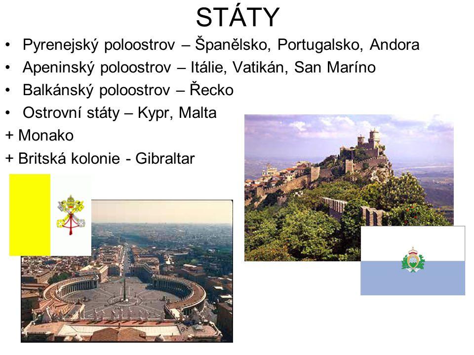 STÁTY Pyrenejský poloostrov – Španělsko, Portugalsko, Andora Apeninský poloostrov – Itálie, Vatikán, San Maríno Balkánský poloostrov – Řecko Ostrovní státy – Kypr, Malta + Monako + Britská kolonie - Gibraltar