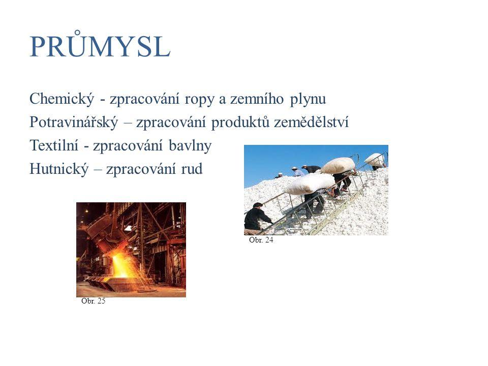 PRŮMYSL Chemický - zpracování ropy a zemního plynu Potravinářský – zpracování produktů zemědělství Textilní - zpracování bavlny Hutnický – zpracování