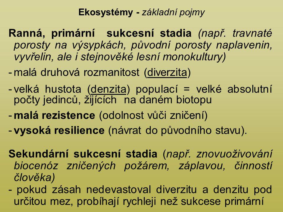 Ekosystémy - základní pojmy Ranná, primární sukcesní stadia (např.