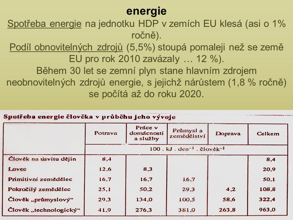 energie Spotřeba energie na jednotku HDP v zemích EU klesá (asi o 1% ročně).