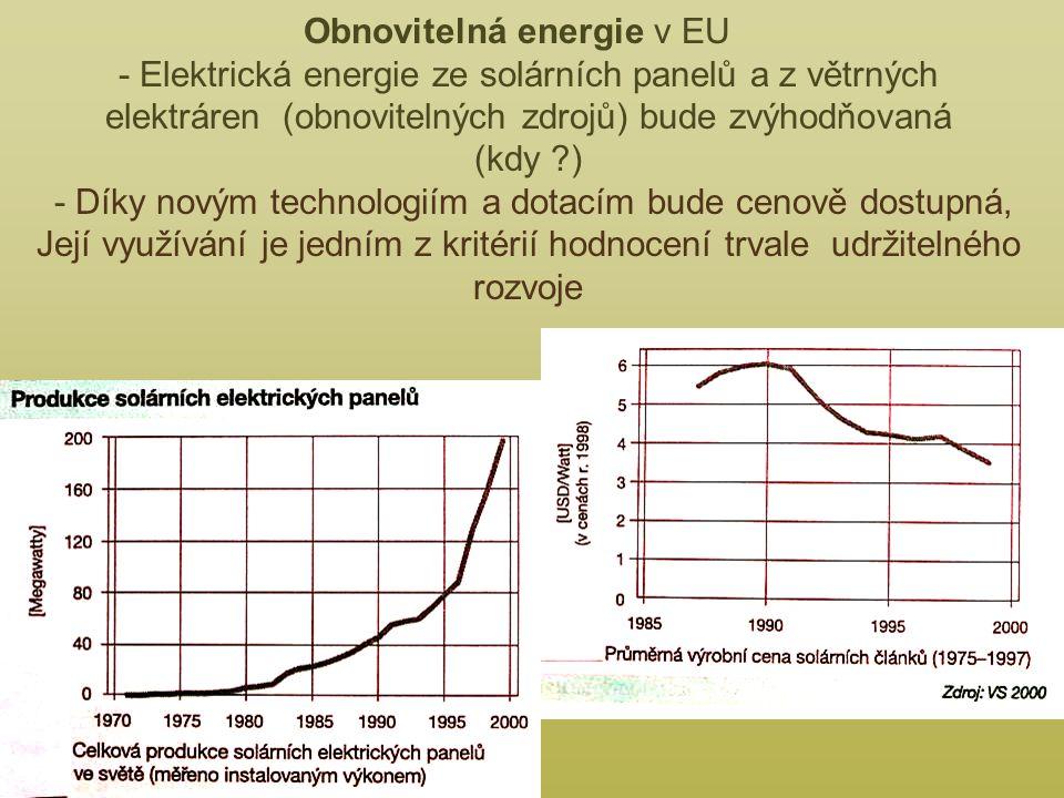 Obnovitelná energie v EU - Elektrická energie ze solárních panelů a z větrných elektráren (obnovitelných zdrojů) bude zvýhodňovaná (kdy ?) - Díky novým technologiím a dotacím bude cenově dostupná, Její využívání je jedním z kritérií hodnocení trvale udržitelného rozvoje