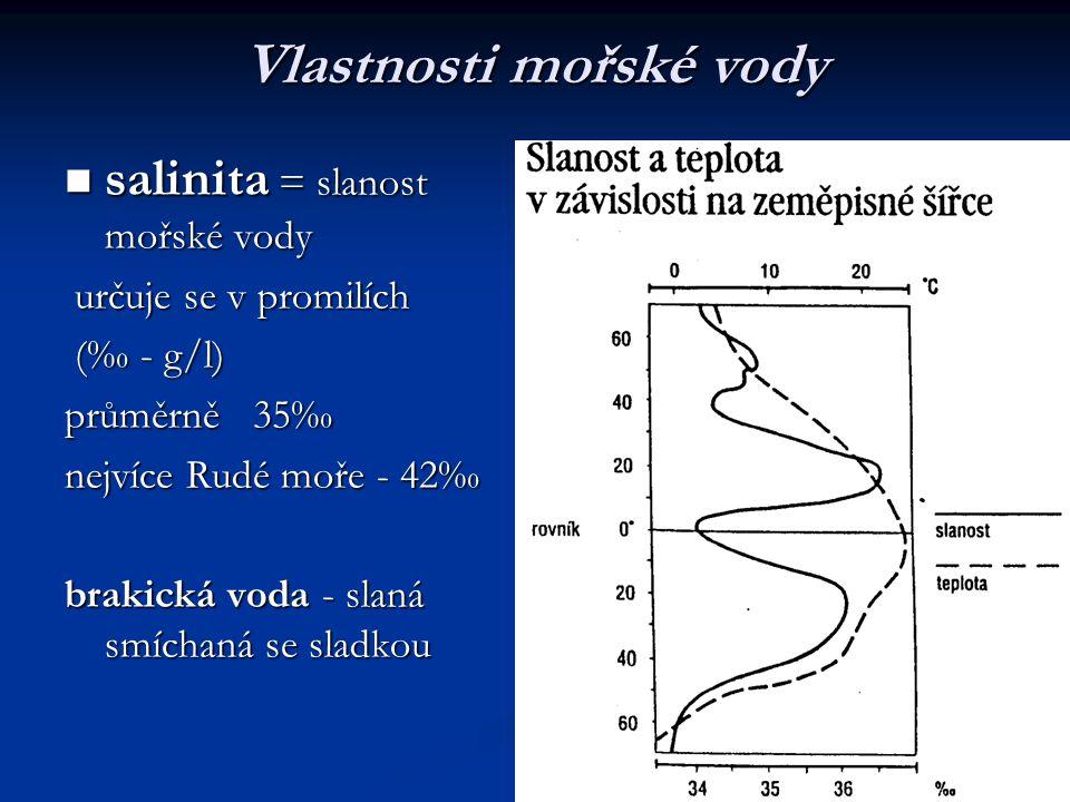 Vlastnosti mořské vody salinita = slanost mořské vody salinita = slanost mořské vody určuje se v promilích určuje se v promilích (‰ - g/l) (‰ - g/l) p