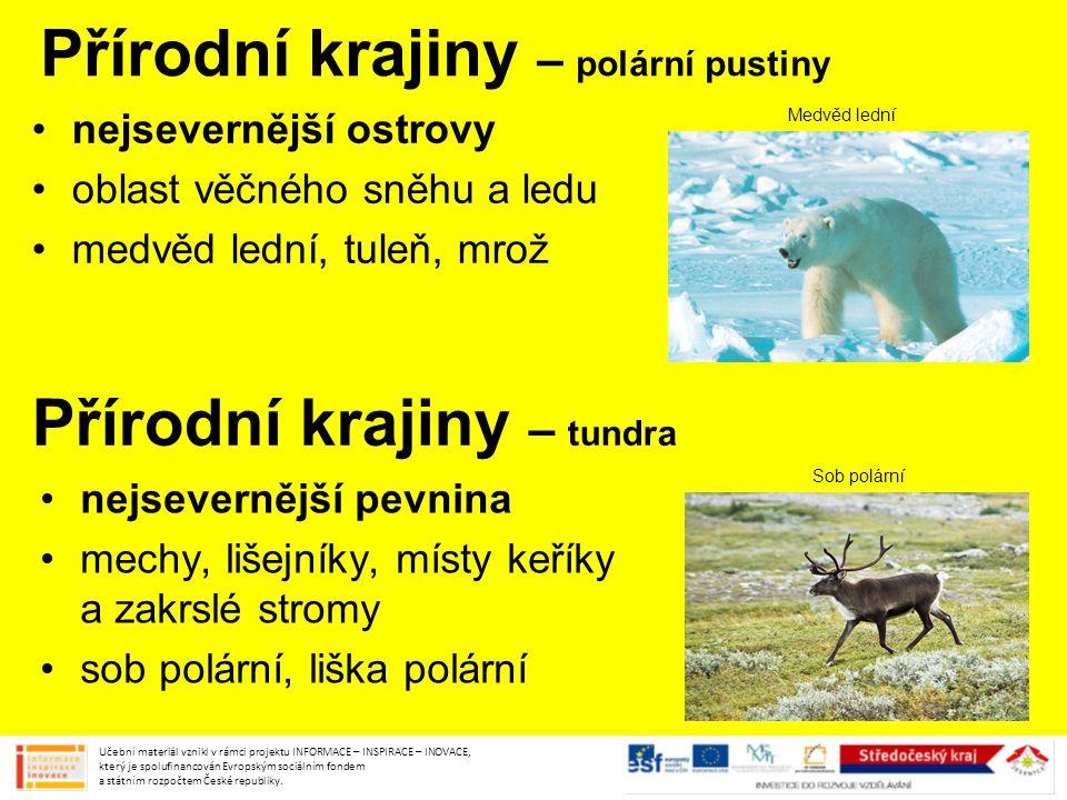 Přírodní krajiny – polární pustiny nejsevernější ostrovy oblast věčného sněhu a ledu medvěd lední, tuleň, mrož Učební materiál vznikl v rámci projektu