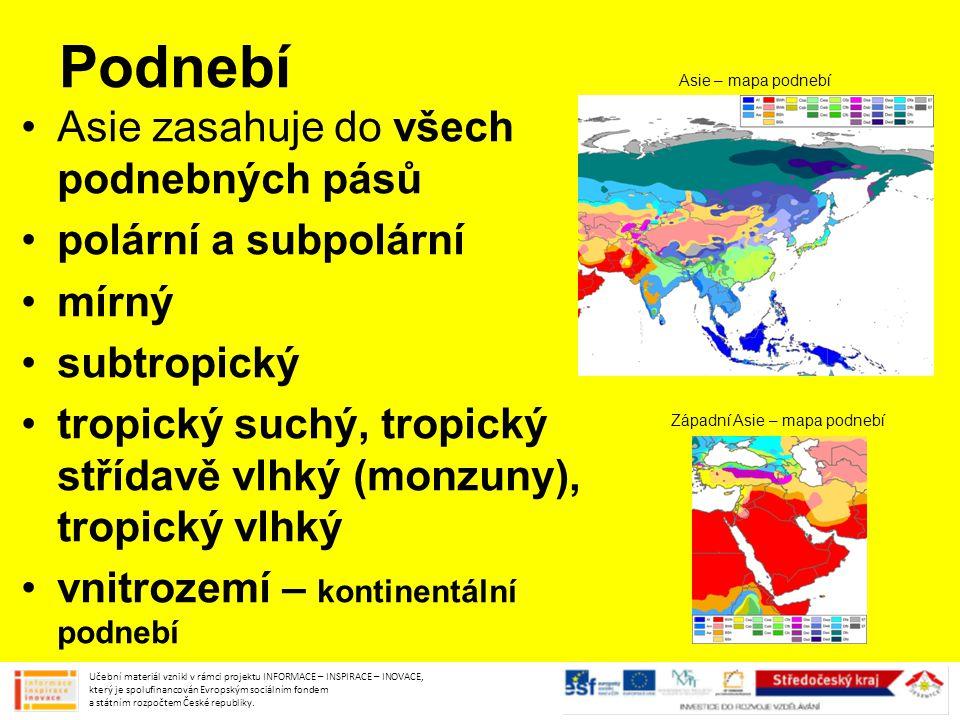 Podnebí Asie zasahuje do všech podnebných pásů polární a subpolární mírný subtropický tropický suchý, tropický střídavě vlhký (monzuny), tropický vlhk