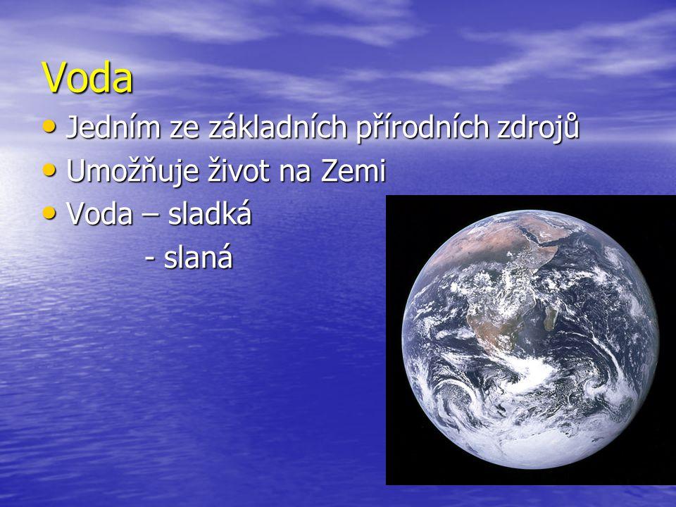 Voda Jedním ze základních přírodních zdrojů Jedním ze základních přírodních zdrojů Umožňuje život na Zemi Umožňuje život na Zemi Voda – sladká Voda –